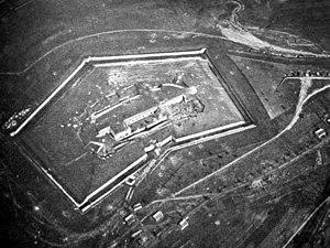 Fort Douaumont - Aerial view early in 1916 before major destruction in the Battle of Verdun. North is approximately at top