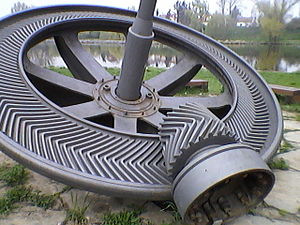Herringbone gear - This herringbone bevel gear was made by Citroën and installed around 1927 in small Miřejovice hydropower plant on Vltava in the Czech Republic, connecting a Francis turbine to the generator. It worked flawlessly until 2011.