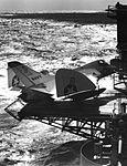 Douglas XF4D-1 Skyray on elevator of USS Coral Sea (CVA-43) on 29 October 1953 (NNAM.1996.253.7330.014).jpg