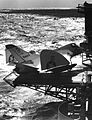 Douglas XF4D-1 Skyray on elevator of USS Coral Sea (CVA-43) on 29 October 1953 (NNAM.1996.253.7330.014).jpg