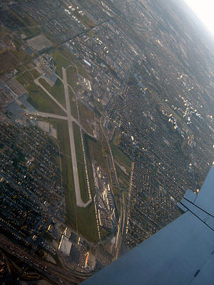 Downsview Park - An aerial view of the runway of the Toronto/Downsview Airport at Downsview Park.