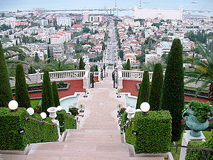 German Colony, Haifa - View down from the Bahá'í Gardens at the top of the Germany Colony