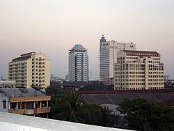Downtown Yangon in the evening