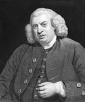 A half-length portrait of an elderly, and overweight, gentleman. He wears a waistcoat and blazer, with buttons, a white collar, and a wig. His left hand hovers close to his abdomen. The background is a dark black.