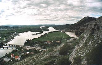 Albanian–Venetian War - The Drin and the Bojana Rivers in Shkodër as seen from Rozafa Castle, the former Venetian fortress.