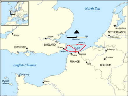 Map of the three evacuation routes Dunkirk Evacuation shipping routes.png