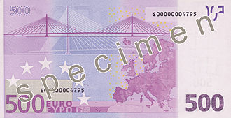500 euro note - Image: EUR 500 reverse (2002 issue)