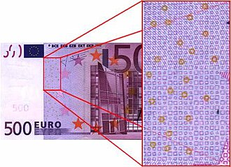 500 euro note - The EURion constellation on the 500 euro note.