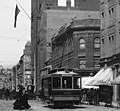 East side of Broadway looking north past 3rd St, c.1888. From left to right 1888 City Hall (with flag), Rindge Block at NE corner of 3rd, Bradbury Building.jpg
