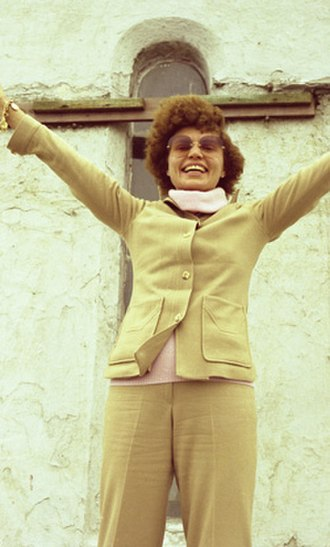 Elizabeth Clare Prophet - Elizabeth Clare Prophet in front of the chapel at the summit of Croagh Patrick, Ireland, 1980