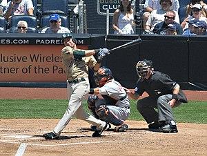 Edgar Gonzalez (infielder) - Image: Edgar Gonzalez at bat