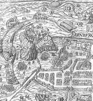 William Kirkcaldy of Grange - Woodcut of the 'lang siege' of Edinburgh Castle showing the English intervention, Holinshed's Chronicle.