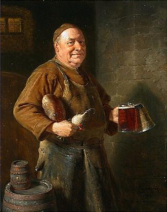 Eduard von Grützner - Mönch auf dem Weg zur Brotzeit, oil on canvas by Eduard von Grützner
