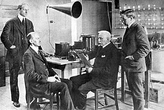 WGI (defunct) - Tufts professor Edward H. Rockwell broadcasting an educational lecture over WGI (1922)