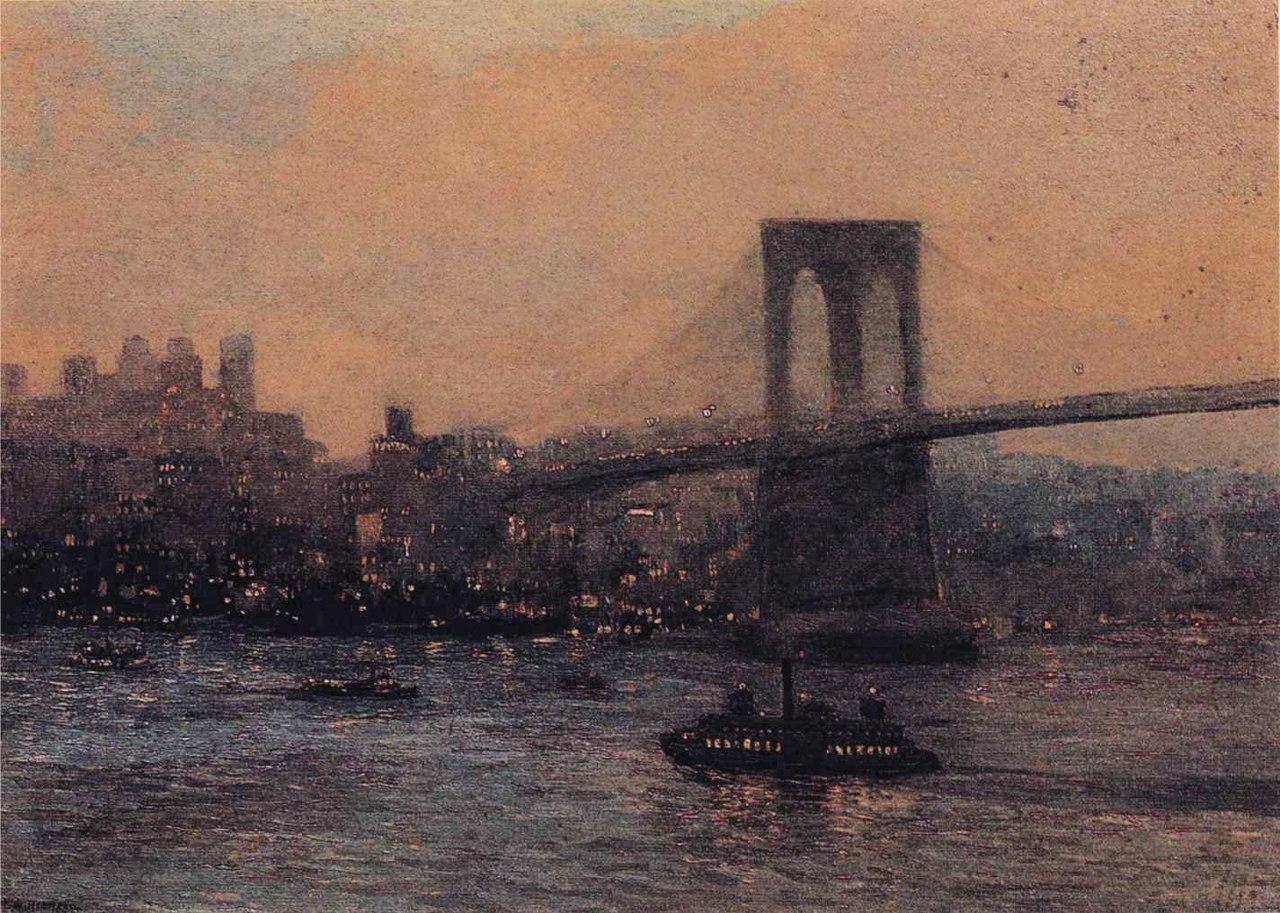 Edward Willis Redfield - Brooklyn Bridge at Night.JPG