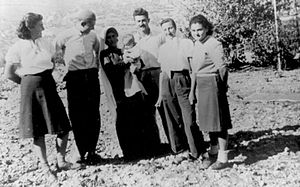 "Ein Rafa - Members of Tzova kibbutz on a ""courtesy visit"" to Ein Rafa. 1948"