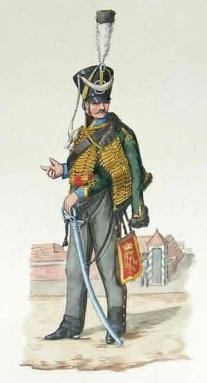 10th (Magdeburg) Hussars - Elbnationalhusaren 1813-1815 Prussian light cavalry Uniform colour plate by F.Neumann around 1850