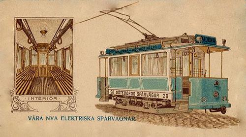 Postcard of a tram in Gothenburg in 1902