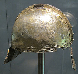 Late Roman ridge helmet - Augsburg-Pfersee Ridge Helmet (Intercisa-type), mid-4th century. This example shows the silver and/or gold sheathing found on most Roman ridge helmets (the helmet would have had cheekpieces - now missing).