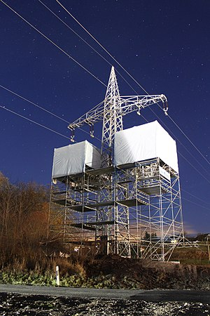 Dead-end tower - Future termination tower of a 110 kV-line while joins are installed