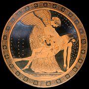 Η Ηώς ανασηκώνει το πτώμα του γιού της Μέμνονα. Αττικό ερυθρόμορφο αγγείο του ζωγράφου Δούριδος από την Καπύη της Ιταλίας, περ. 480-490 π.Χ., η λεγόμενη «Πιετά του Μέμνονος».
