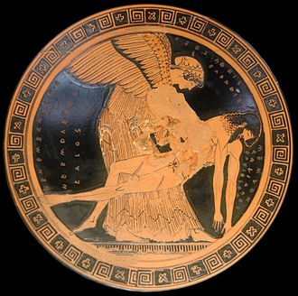 "Eos - Eos and the slain Memnon on an Attic red-figure cup, ca. 490–480 BCE, the so-called ""Memnon Pietà"" found at Capua (Louvre)."