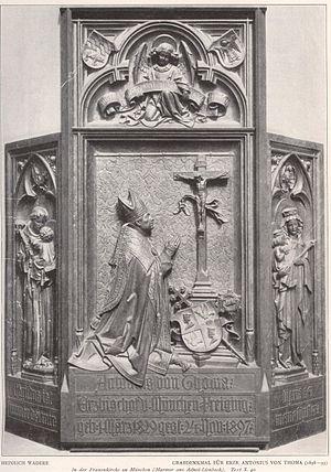 Antonius von Thoma - Grave monument of Archbishop Antonius von Thoma in the Munich Frauenkirche, by Heinrich Waderé (Zeitschrift für Christliche Kunst, 1908)