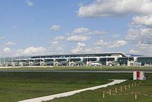 Esenboğa Havalimanı, Ankara, Turkey.View to the terminal from the runway.jpg