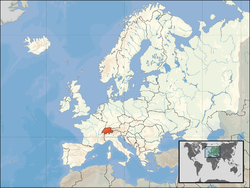 Location of  Suwisalan  (orange) on the European continent  (white)