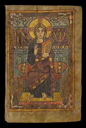 Godescalc Evangelistary - Christ in Majesty; miniature of Jesus Christ in the Godescalc Evangelistary.