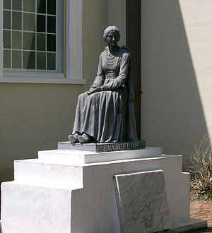 Cajuns - A statue of Evangeline—fictional heroine of the poem Evangeline by Longfellow—at St. Martinville, Louisiana. The statue was donated by actress Dolores del Río, who also posed for it. In a 1929 silent film by director Edwin Carewe, del Rio portrayed Evangeline.