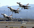 F-16 Fighting Falcons of the Thunderbirds, take off to perform during the air show at Nellis AFB.jpg
