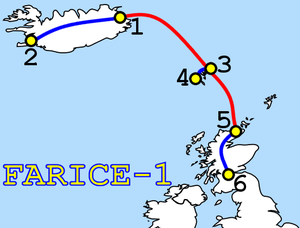 FARICE-1 - Cable Route, Red is submarine, Blue is terrestrial, now extended to London.