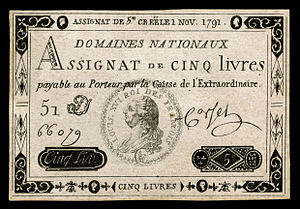French franc - An Assignat for 5 livres (1791)