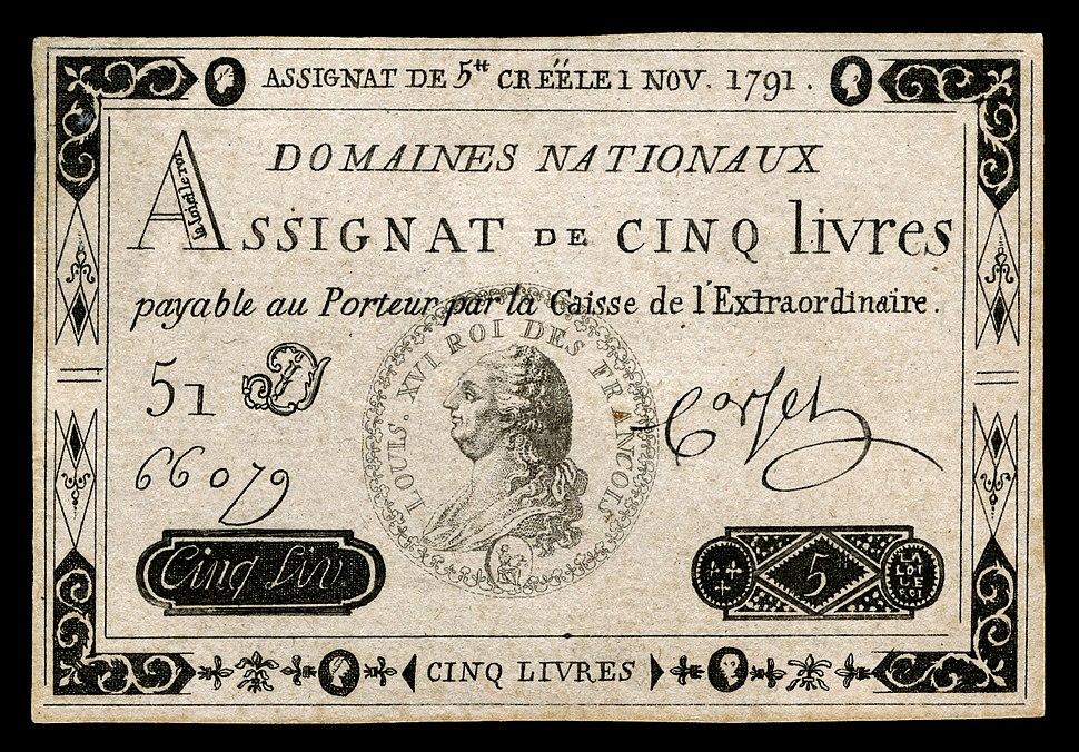 FRA-A50-Domaines Nationaux-5 livres (1791)