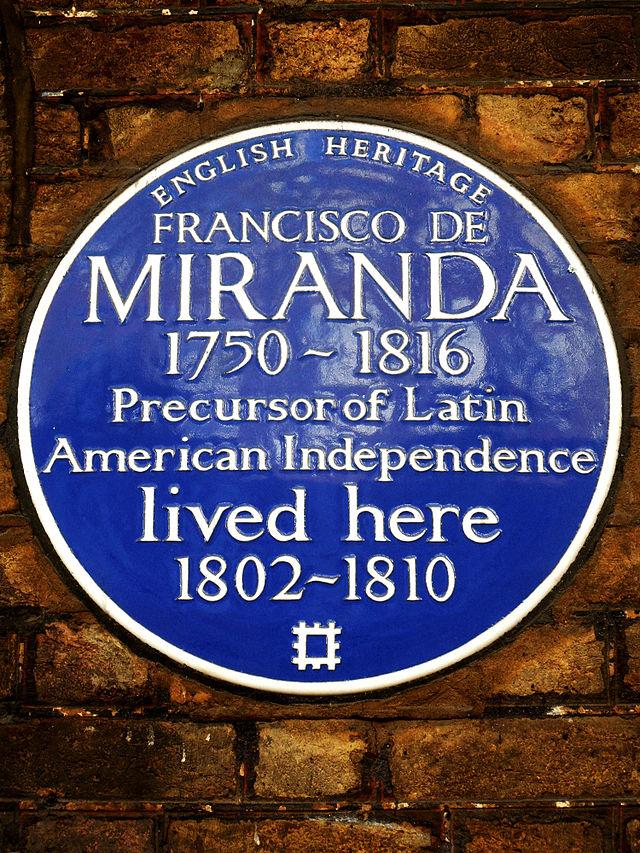 Photo of Francisco De Miranda blue plaque