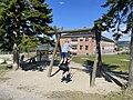 FRYAL SKOLE Søndre Land kommune, Norway. Barn leker husker vipper sykler Skolegård uteområde Randsfjorden Sol (School Children Sunny ) 2021-06-02 IMG 2076.jpg