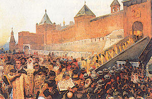 Polish–Muscovite War (1605–18) - False Dmitriy enters Moscow on 20 June 1605. Painting by Klavdiy Lebedev.
