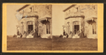 Family posing in front and in the balcony of stone house, from Robert N. Dennis collection of stereoscopic views 12.png