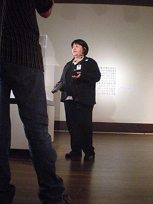 Faye HeavyShield - HeavyShield giving an artist talk at the Eiteljorg Museum's 2009 Fellowship for Native American Fine Art
