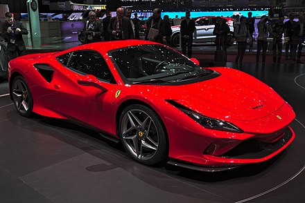 A Ferrari F8 Tributo. Italy maintains a large automotive industry, and is the world's seventh largest exporter of goods. Ferrari F8 Tributo Genf 2019 1Y7A5665.jpg