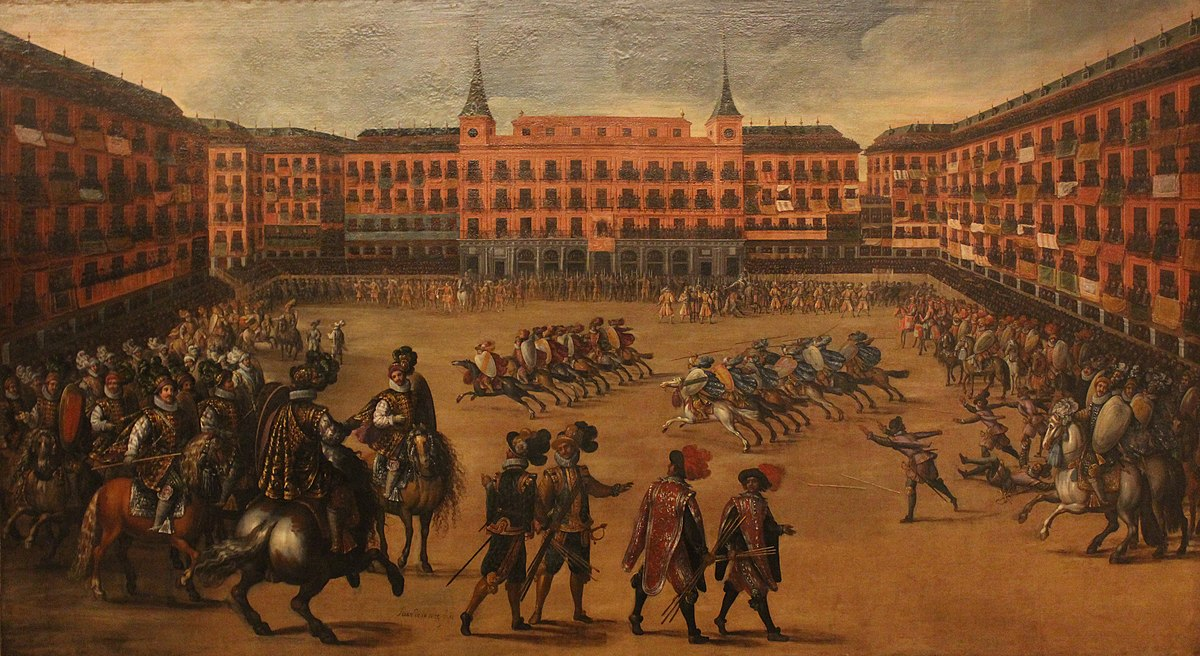 https://upload.wikimedia.org/wikipedia/commons/thumb/8/8b/Fiesta_en_la_Plaza_Mayor._Museo_de_Historia_de_Madrid_%28cropped%29.JPG/1200px-Fiesta_en_la_Plaza_Mayor._Museo_de_Historia_de_Madrid_%28cropped%29.JPG