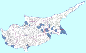 Municipalities and communities that has been represented in Cypriot First Division, with at least one team