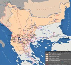 A map of the Bulgarian Empire in the late 10th and early 11th centuries