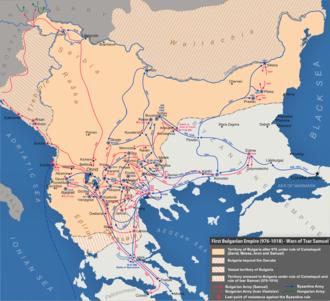 Battle of Kleidion - Map of Bulgaria and Byzantium c.1000