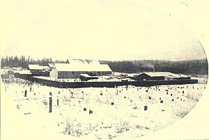 Fairbanks, Alaska - The fledgling settlement of Fairbanks as it appeared in 1903. The buildings shown are likely those of E. T. Barnette's trading post.