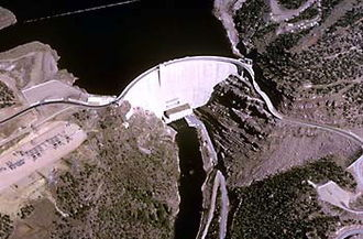 Flaming Gorge Dam - An aerial view of the Flaming Gorge Dam, by the U.S. Bureau of Reclamation.