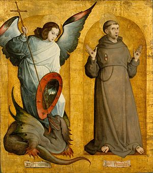 Juan de Flandes - The Archangel Michael and Saint Francis of Assisi.