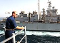 Flickr - Official U.S. Navy Imagery - An officer observes a replenishment at sea..jpg