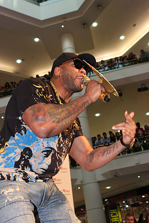 While hip hop music sales dropped a great deal in the mid-2000s (decade), rappers like Flo Rida were successful online and with singles, despite low album sales. Flo Rida (6924266548).jpg